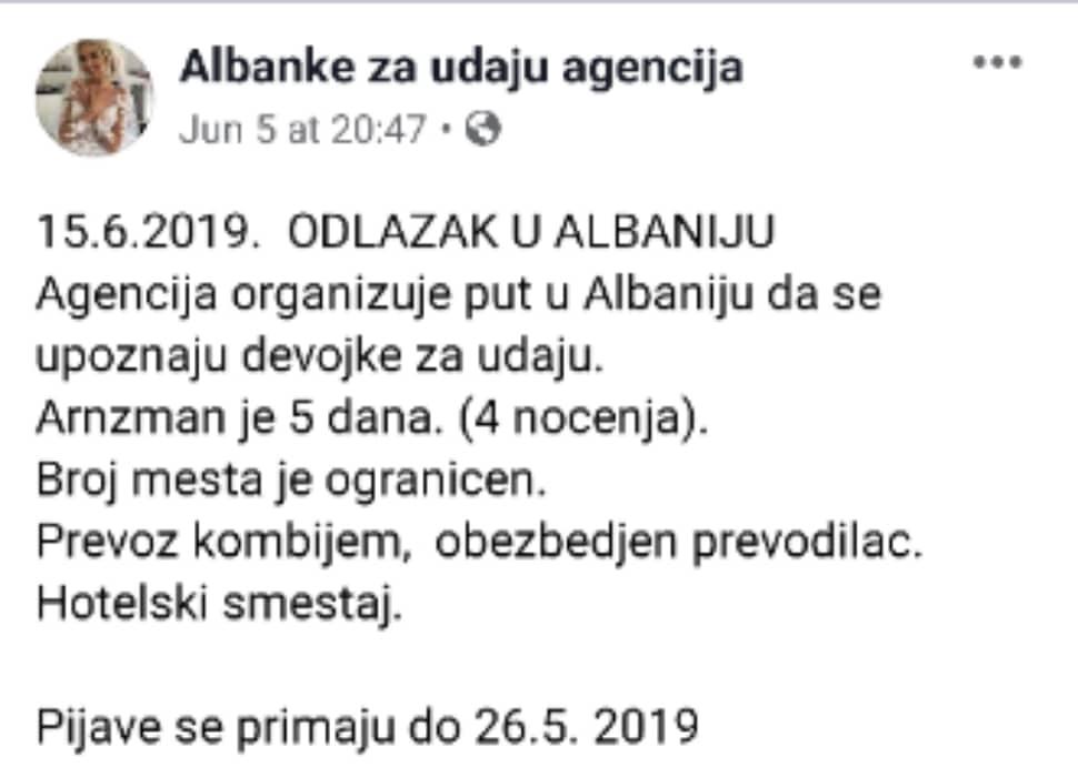 Za udaju facebook albanke se prodaju